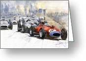 Red Ferrari Greeting Cards - Red Car Ferrari 801 German GP 1957  Greeting Card by Yuriy  Shevchuk
