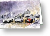 Old Painting Greeting Cards - Red Car Maserati 250 France GP Greeting Card by Yuriy  Shevchuk