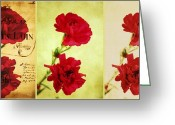 Pink Carnations Greeting Cards - Red Carnations Greeting Card by Cathie Tyler