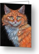 Red Pastels Greeting Cards - Red Cat Greeting Card by Svetlana Ledneva-Schukina