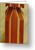 Red Cedar Sculpture Greeting Cards - Red Cedar and Maple Vase Greeting Card by Russell Ellingsworth