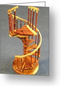 Red Cedar Sculpture Greeting Cards - Red Cedar rustic spiral stairs Greeting Card by Don Lorenzen