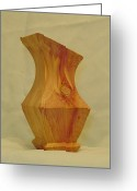 Red Cedar Sculpture Greeting Cards - Red Cedar Vase II Greeting Card by Russell Ellingsworth