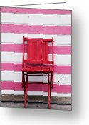 Stripes Greeting Cards - Red chair and pink strips Greeting Card by Garry Gay
