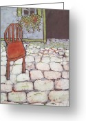 Fine Art Batik Tapestries - Textiles Greeting Cards - Red Chair Batik Greeting Card by Kristine Allphin