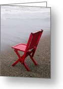 Seat Greeting Cards - Red chair on the beach Greeting Card by Garry Gay