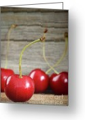 Eat Greeting Cards - Red cherries on barn wood Greeting Card by Sandra Cunningham