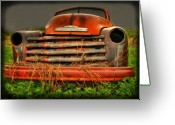 Old Chevrolet Truck Greeting Cards - Red Chevy Greeting Card by Thomas Young