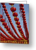 Ancestors Greeting Cards - Red Chinese Lanterns at Thean Hou Temple in Kuala Lumpur Greeting Card by Zoe Ferrie