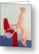 Person Greeting Cards - Red Cloth Greeting Card by Cynthia Harvey