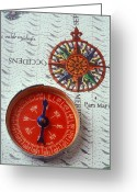 Direction Greeting Cards - Red compass and rose compass Greeting Card by Garry Gay