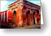 Street Scene Greeting Cards - Red Corner by Darian Day Greeting Card by Olden Mexico