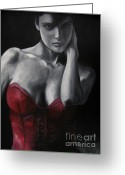 Corset Greeting Cards - Red Corset Nr.4 Greeting Card by Jindra Noewi