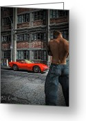 Mysterious Greeting Cards - Red Corvette Greeting Card by Bob Orsillo