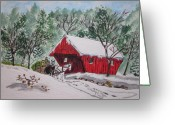 Covered Bridge Painting Greeting Cards - Red Covered Bridge Christmas Greeting Card by Kathy Marrs Chandler