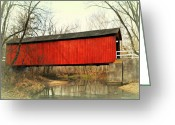 Marty Koch Greeting Cards - Red Covered Bridge Greeting Card by Marty Koch