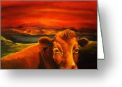 Livestock Drawings Greeting Cards - Red Cow Greeting Greeting Card by Outre Art Stephanie Lubin