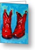 Leather Greeting Cards - Red Cowboy Boots Greeting Card by Patricia Awapara