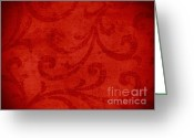Plaster Tapestries - Textiles Greeting Cards - Red crispy oriental style decor for fine design. Greeting Card by Marta Mirecka
