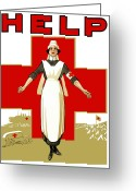 Great Mixed Media Greeting Cards - Red Cross Help Greeting Card by War Is Hell Store