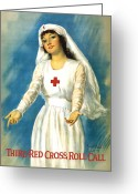 Great Mixed Media Greeting Cards - Red Cross Nurse Greeting Card by War Is Hell Store