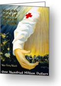 Devastation Greeting Cards - Red Cross Poster, 1918 Greeting Card by Granger
