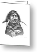 Native Drawings Greeting Cards - Red Crow Greeting Card by Lee Updike