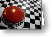 California Greeting Cards - Red Cushion Stool Above Chequered Floor Greeting Card by Peter Young