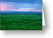 Wheatfields Photo Greeting Cards - Red Dawn over the Palouse Greeting Card by Mike  Dawson