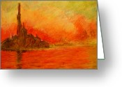Pen Pastels Greeting Cards - Red Dawn Greeting Card by Ted Castor