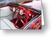 Dash Greeting Cards - Red Delahaye Steering Wheel and Dashboard . 40D9340 Greeting Card by Wingsdomain Art and Photography