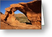 Nevada Greeting Cards - Red Desert Window Greeting Card by Mike  Dawson
