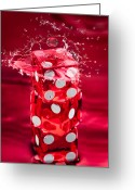 Las Vegas Greeting Cards - Red Dice Splash Greeting Card by Steve Gadomski