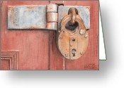 Hinge Greeting Cards - Red Door and Old Lock Greeting Card by Ken Powers
