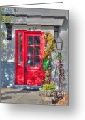 Red Door Greeting Cards - Red Door at Night -- Sailors Delight Greeting Card by David Bearden