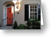Red Door Greeting Cards - Red Door Charleston SC Greeting Card by Susanne Van Hulst