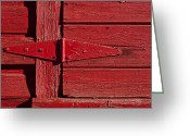 Door Hinges Greeting Cards - Red door henge Greeting Card by Garry Gay