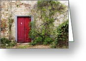 Entrance Door Greeting Cards - Red Door in Old Brick and Stone Cottage Greeting Card by Jeremy Woodhouse