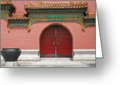 Forbidden City Greeting Cards - Red Door in The Forbidden City Greeting Card by Kay Gilley