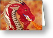 Mythological Greeting Cards - Red Dragon Greeting Card by Debbie LaFrance