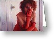 Gloves Greeting Cards - Red Dress Greeting Card by James W Johnson
