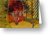 Representative Abstract Greeting Cards - Red Elephant Greeting Card by David Raderstorf