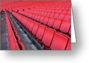 Soccer Stadium Greeting Cards - Red Empty Chairs In A Stadium Greeting Card by Jonathan Kitchen