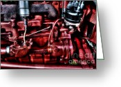 Mechanical Greeting Cards - Red Engine Greeting Card by Michael Garyet
