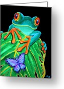 Red-eyed Frogs Greeting Cards - Red-eyed tree frog and butterfly Greeting Card by Nick Gustafson