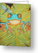 Amphibians Greeting Cards - Red eyed tree frog and dragonfly Greeting Card by Nick Gustafson