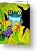 Red-eyed Frogs Greeting Cards - Red Eyed Tree Frog and Purple Butterfly Greeting Card by Nick Gustafson