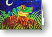Red-eyed Frogs Greeting Cards - Red-eyed tree frog and starry night Greeting Card by Nick Gustafson