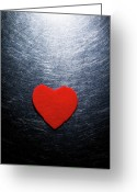 Heart-shape Greeting Cards - Red Felt Heart On Stainless Steel Background. Greeting Card by Ballyscanlon