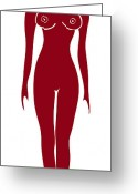 Wall Art Drawings Greeting Cards - Red Female Silhouette Greeting Card by Frank Tschakert